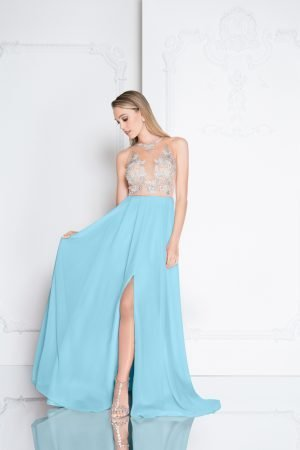 Flowy Illusion Neckline High Slit Prom Dress – 1811P5215