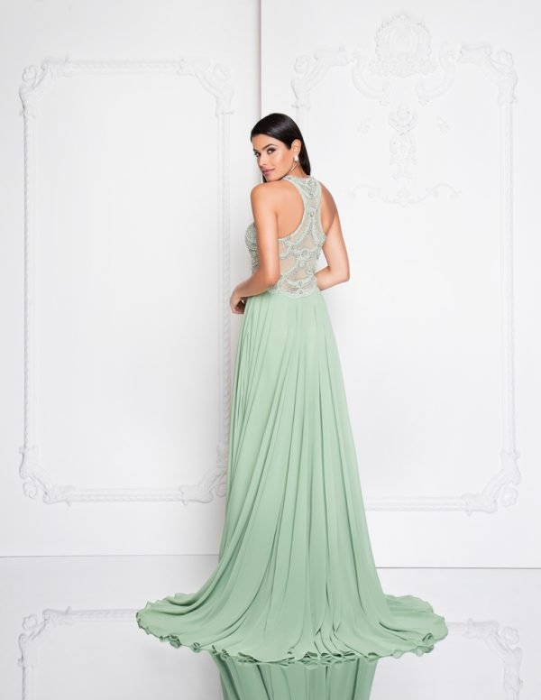 Keyhole Cut Out Halter Neck Long Prom Dress – 1812P5393