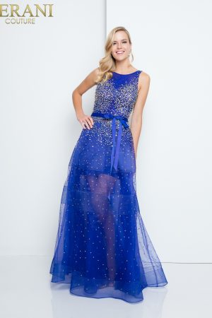 Layered Tulle Sheer Crystal Prom Dress – 1812P5853