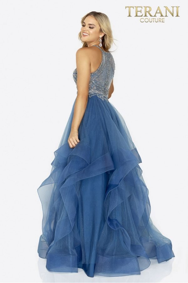 Beaded bodice halter prom ball gown- 2011P1217