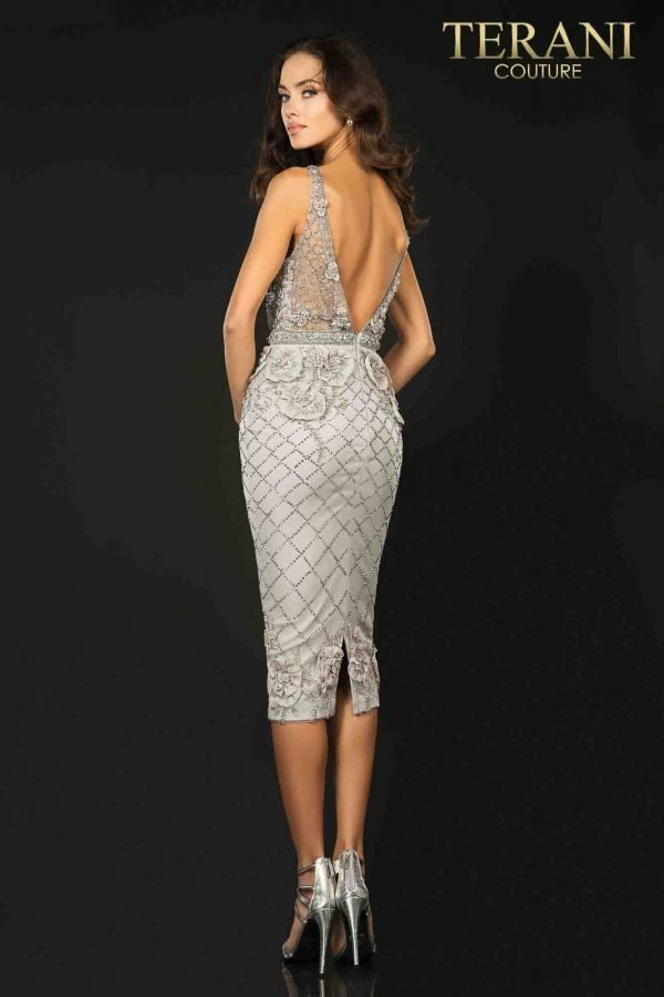Gorgeous 3D rose and bead emebllished cocktail dress-2011C2005
