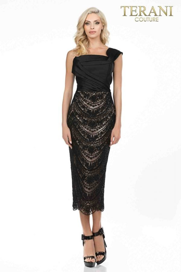 One arm wrap cocktail dress with beaded lace skirt-2011C2017