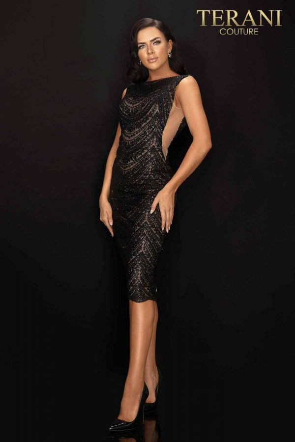 Sheer nude scallop lace cocktail dress with beading-2011C2018