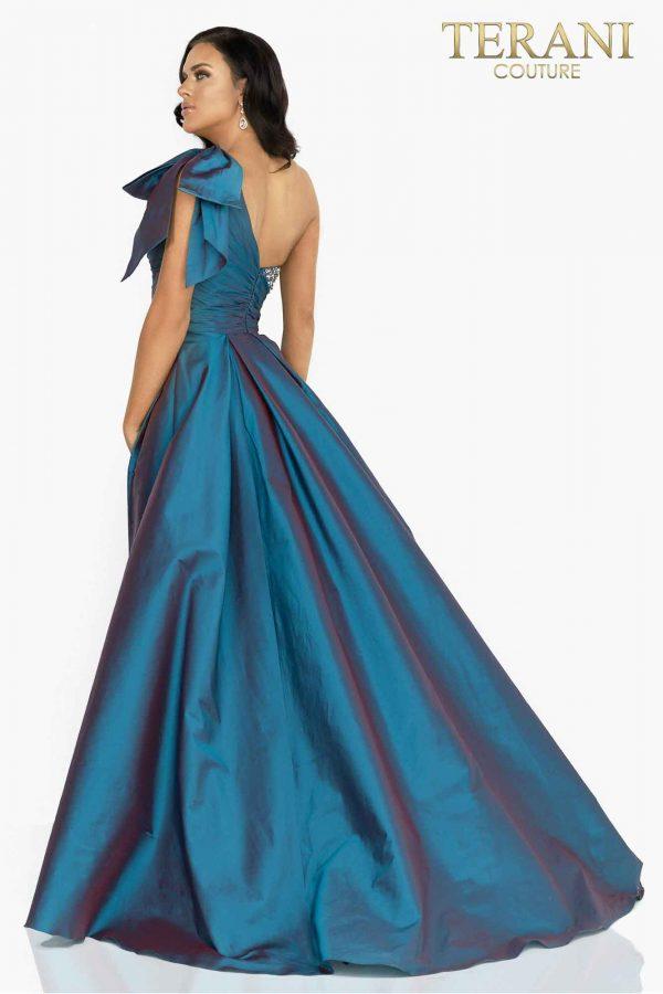 Crystal embellished one shoulder evening gown with overskirt-2011E2036