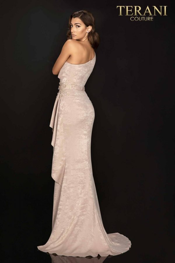 Suede one shoulder and sleeve evening gown with side slit and peplum-2011E2038
