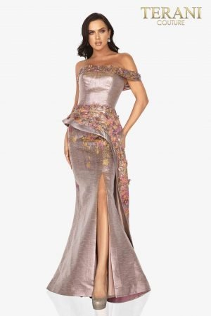 One arm printed Jacquard evening gown with 3D flowers and side slit-2011E2040