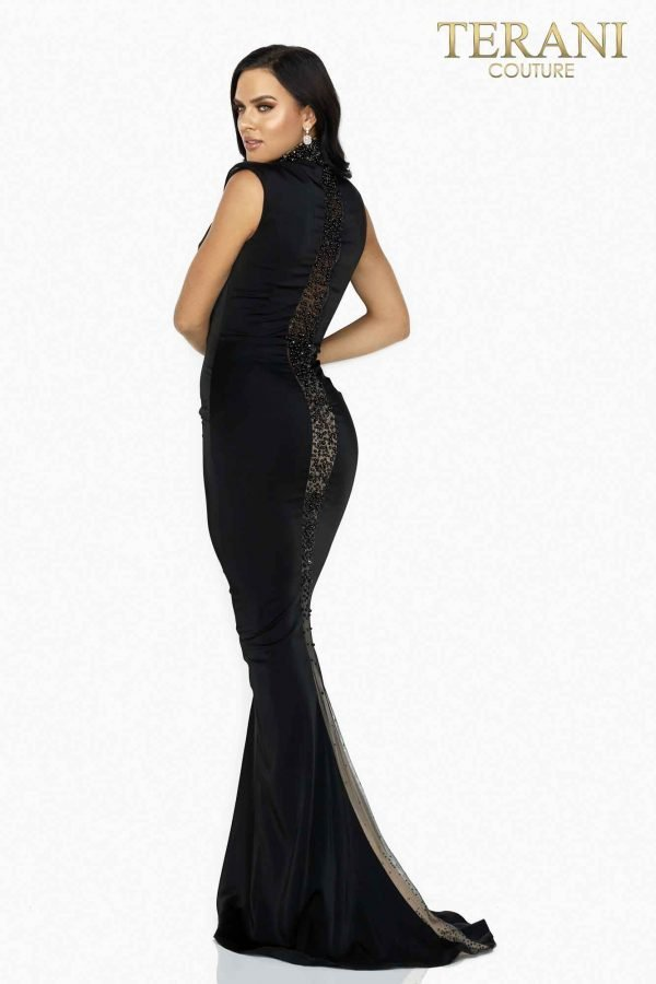Sexy illusion panel high neck beaded evening gown-2011E2046