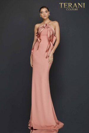 Halter neck evening gown with cascading bodice detail-2011E2050