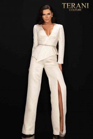Elegant Jacquard jumpsuit with beaded waistline-2011E2063