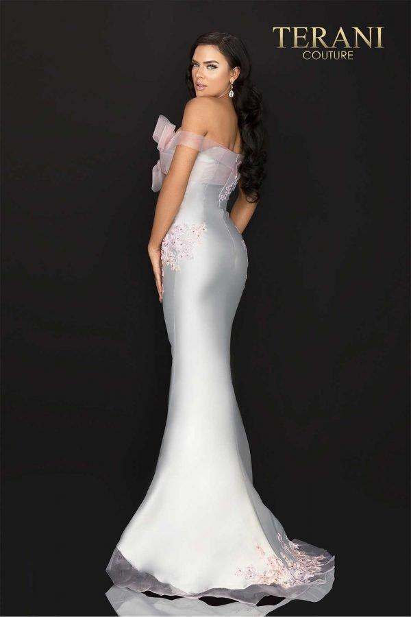 Tri-color lace applique off shoulder Mikado evening gown-2011E2093