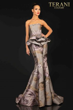 Strapless printed Jacquard evening gown with extended peplum-2011E2097