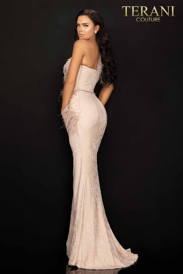 Sequin one shoulder evening gown with feather accent-2011E2112