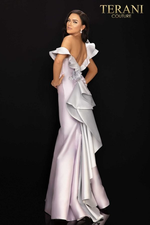 Two tone one shoulder ruffled evening gown-2011E2428