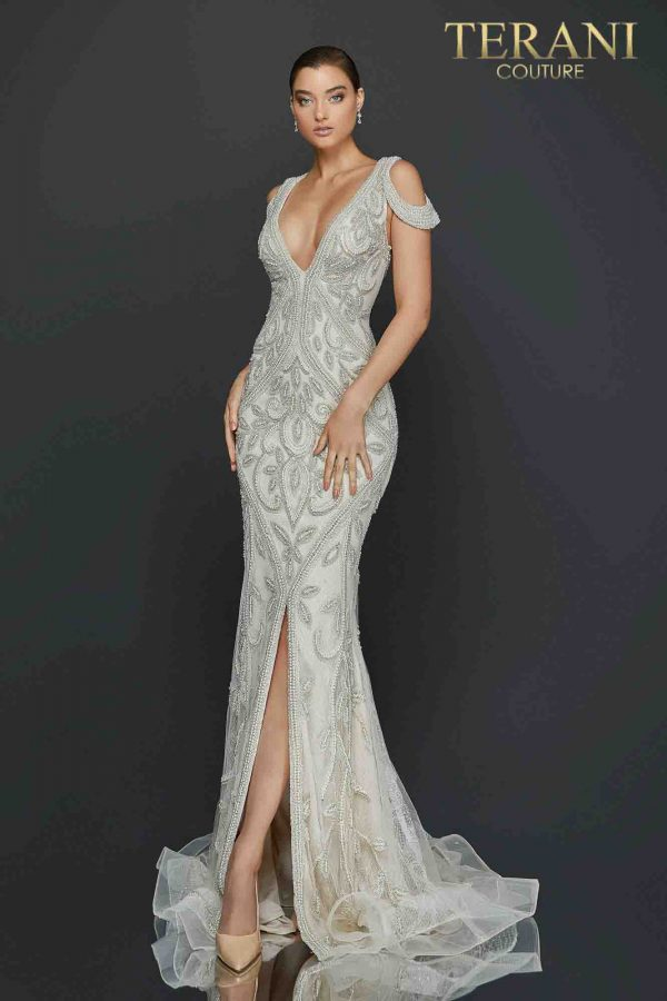Cold shoulder heavily beaded pageant dress with center slit-2011GL2174