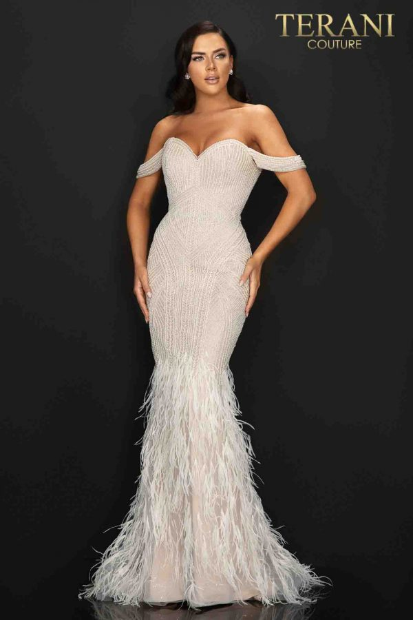Sexy off shoulder pageant gown with pearls beading and feathered skirt-2011GL2175