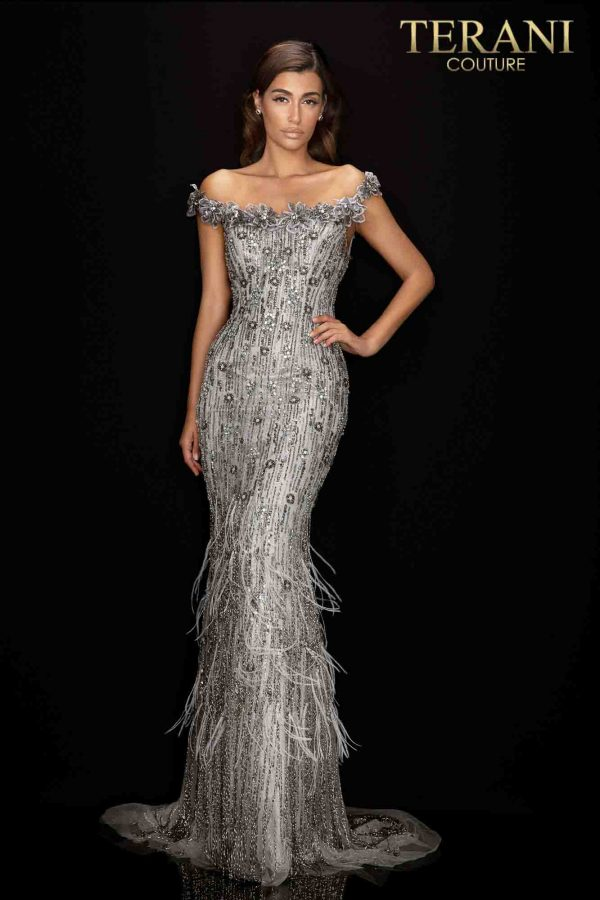 Regal 3D flower off shoulder gown with feathered hem-2011GL2176