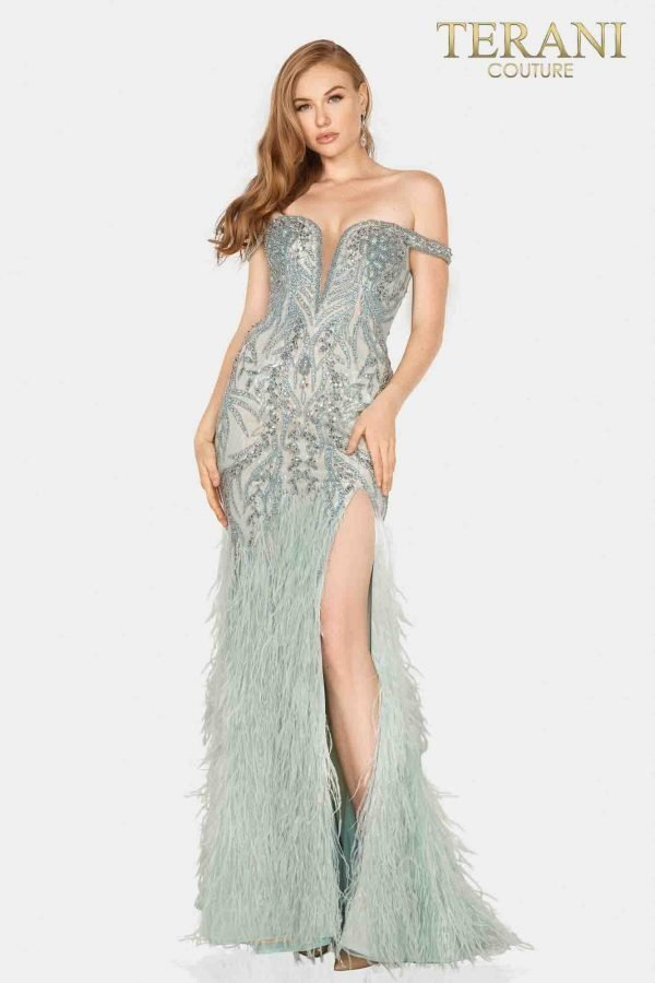 Stunning off shoulder beaded pageant gown with slit and feathered skirt-2011GL2181