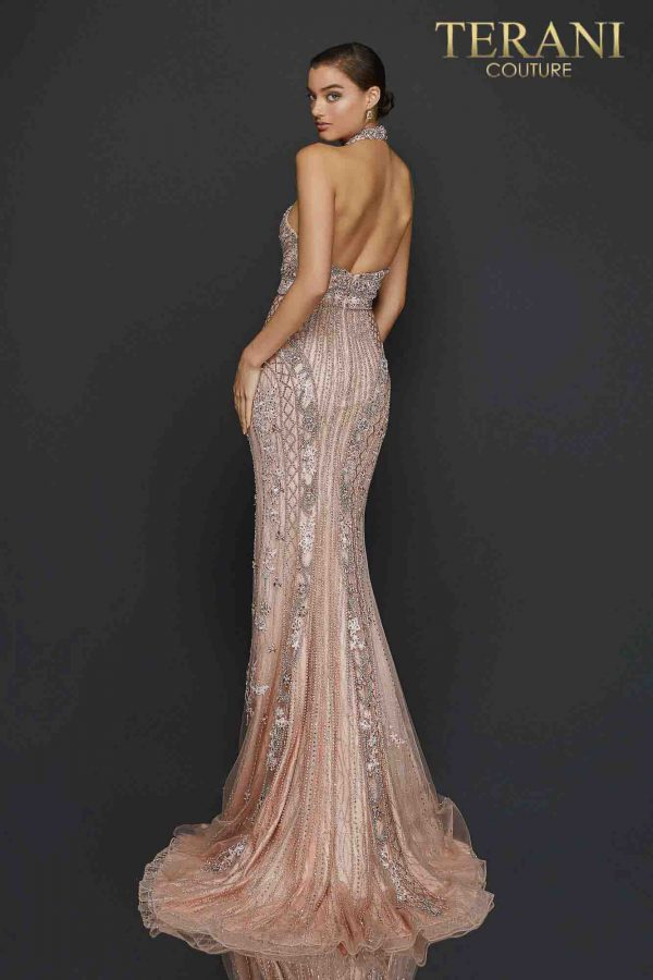 Halter neck beaded pageant gown with open back-2011GL2182