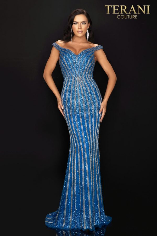 Gorgeous fully beaded off shoulder pageant dress-2011GL2209
