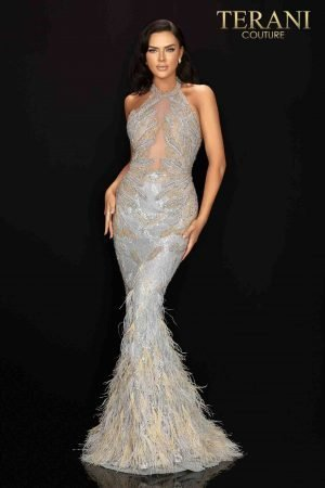 Halter neckline long beaded pageant dress with feather hem-2011GL2211