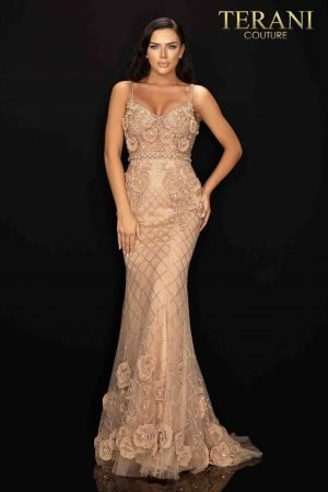 Open back beaded pageant dress with chiffon roses-2011GL2216