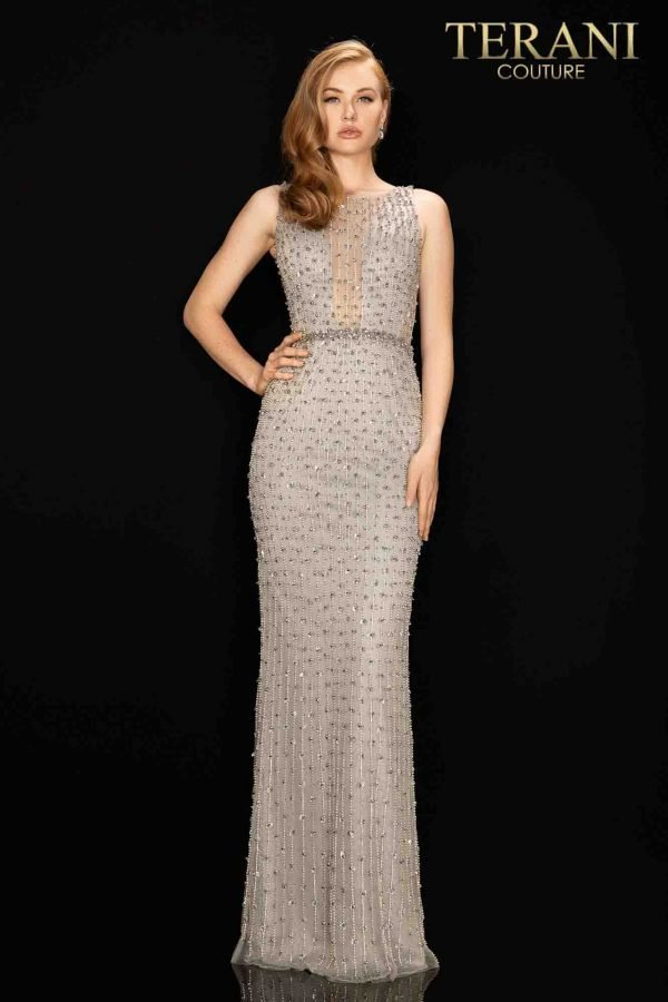 Metallic tone pageant dress with trickling beading and back slit-2011GL2217