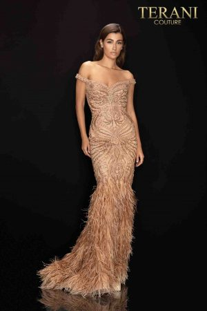 Fully beaded off shoulder pageant gown with feather trumpet skirt-2011GL2221