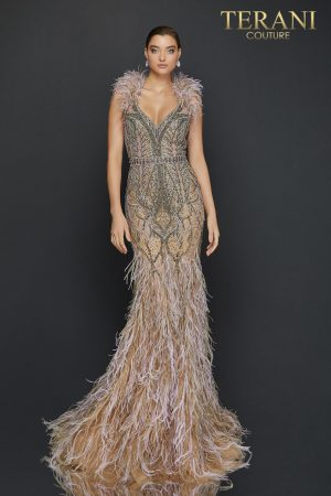 Feather halter neckline two tone beaded pageant dress-2011GL2423