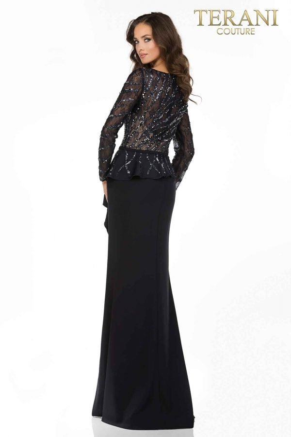 Long sleeve Mother of Bride gown with peplum-2011M2116