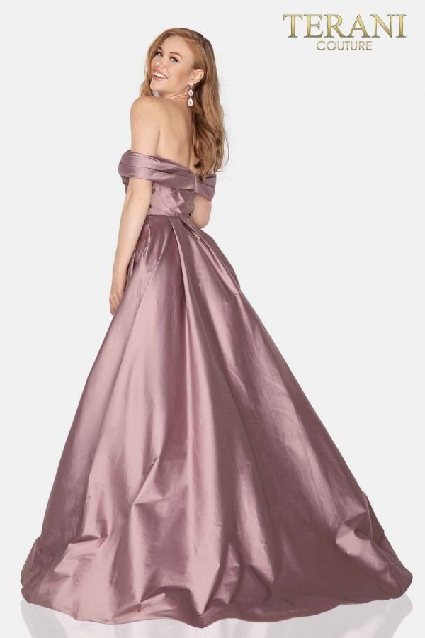 Draped off shoulder Taffeta Mother of bride gown with overskirt-2011M2119