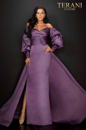 Off shoulder draped long sleeve Mother of Bride long gown – 2011M2122