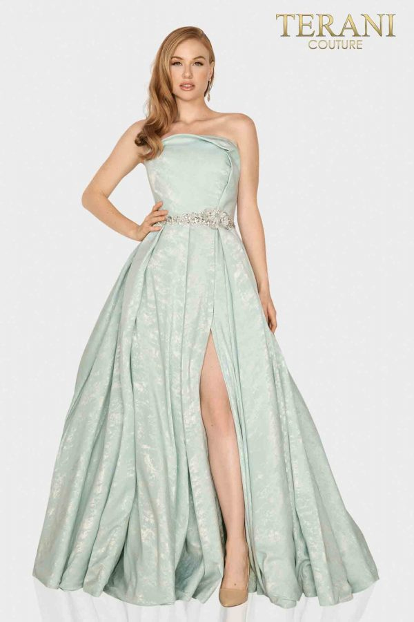 Strapless Suede fabric Mother of Bride gown with pleated slit skirt-2011M2127