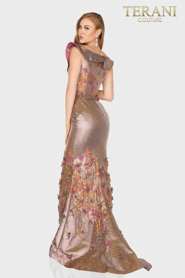 Ruffled off shoulder Mother of Bride gown with Floral print-2011M2129