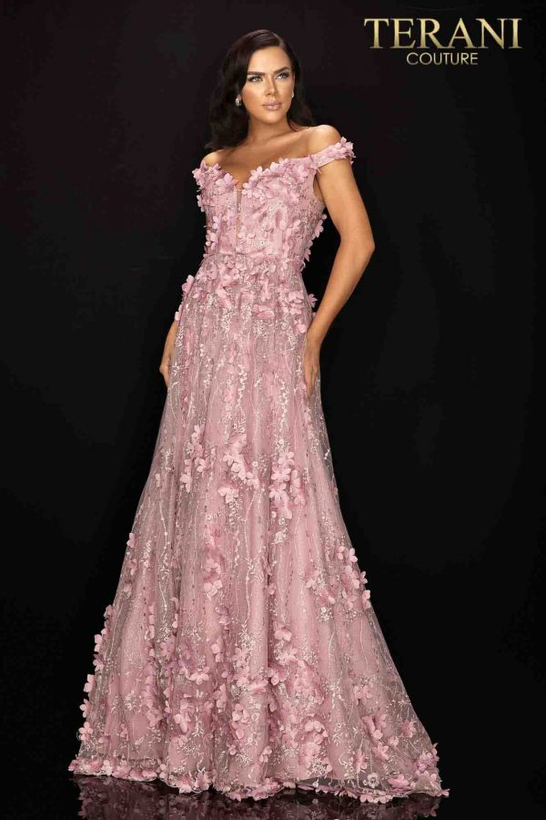 Long ball skirt off shoulder Mother of Bride gown with 3D flowers-2011M2143