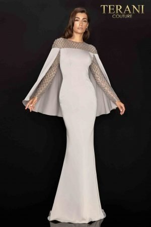 Elegant long sleeve Mother of Bride gown with attached cape – 2011M2155