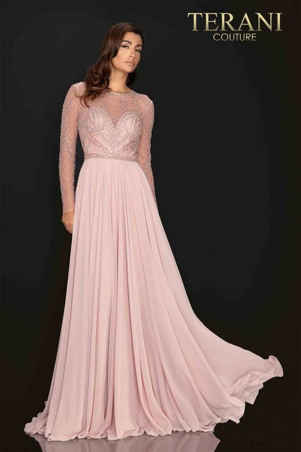 Symetrical long sleeve beaded Mother of Bride gown with Chiffon skirt – 2011M2164