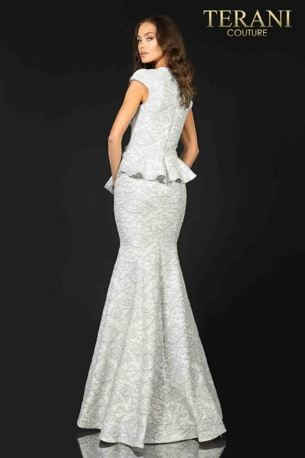 Cap sleeveed Mother of Bride gown with bow detail-2011M2166