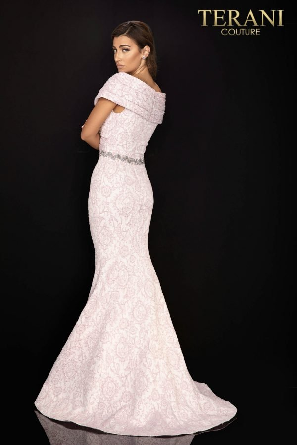 Jacquard Mother of Bride gown with pleated off shoulder collar-2011M2168