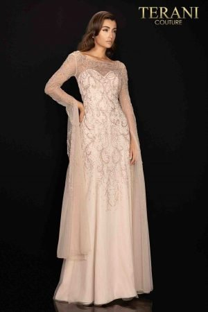 Long trumpet sleeve Mother of Bride gown with full beading-2011M2169