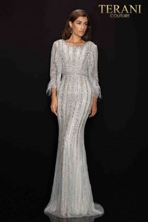 Beaded three quarter sleeve Mother of Bride dress with feather accent – 2011M2462