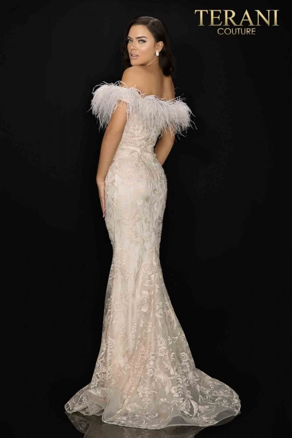 Feather trimmed off shoulder lace Mother of Bride gown-2011M2546