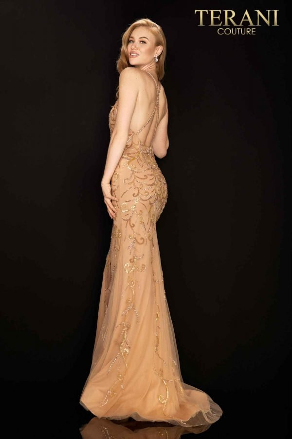 Sexy beaded prom gown with high slit – 2011P1046