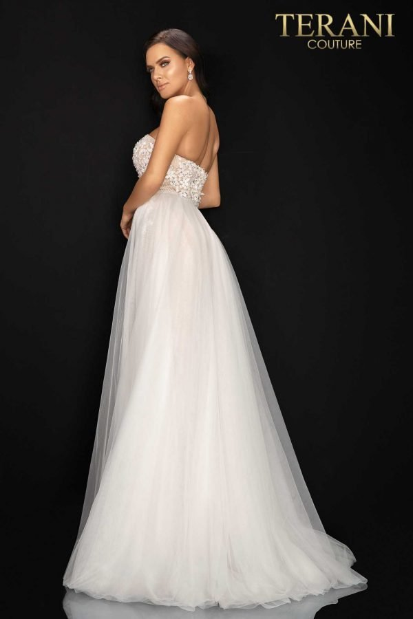 Sweetheart neckline beaded prom gown with tulle overskirt – 2011P1055