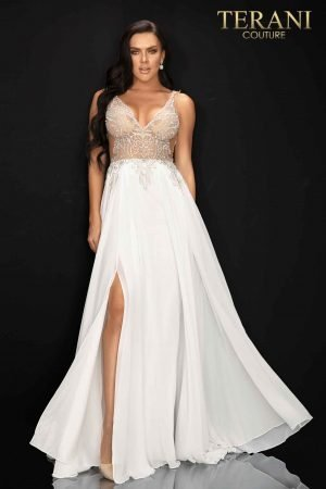 V-neckline beaded flowing chiffon skirt – 2011P1056