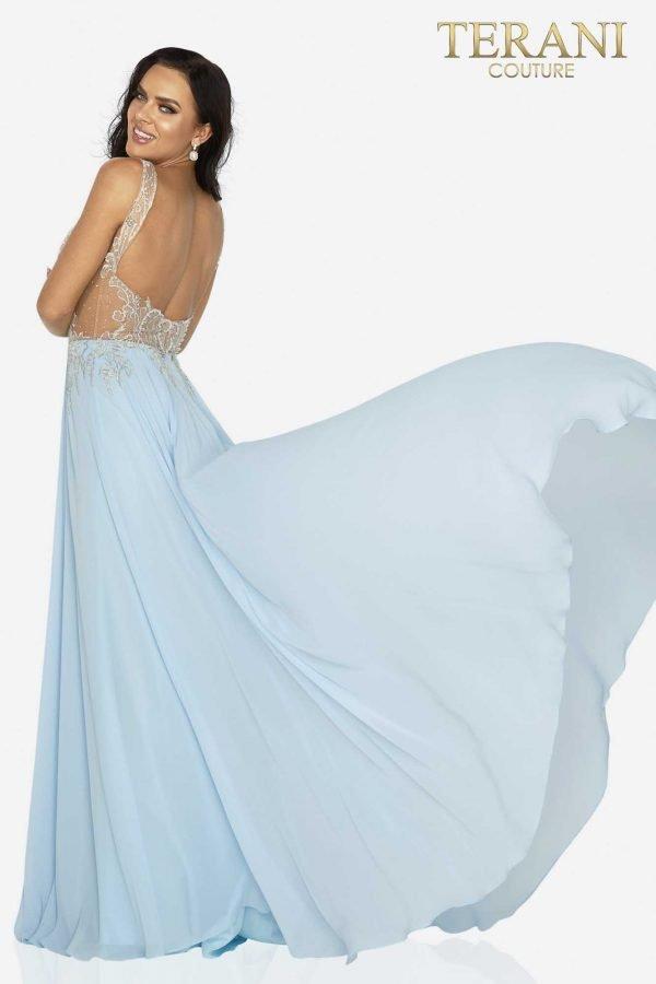 V-neckline beaded flowing chiffon skirt – 2011P1056