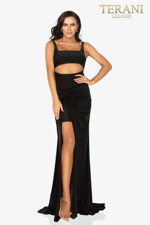 Cut out midriff prom dress with twist Jersey skirt- 2011P1061