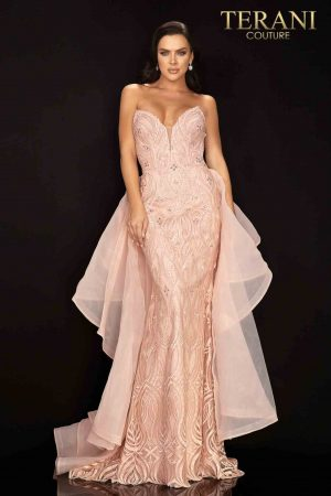 Sweetheart neckline column prom gown with organza train – 2011P1068