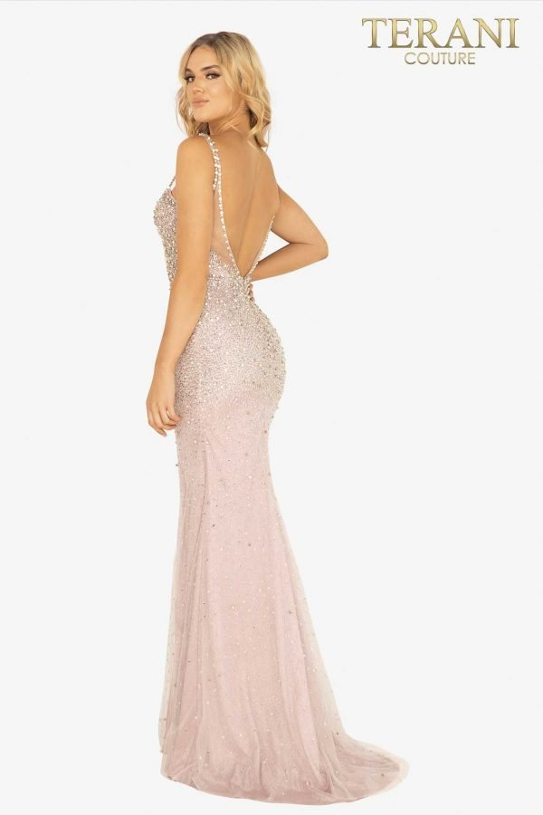 Fitted crystal beaded gown with slit – 2011P1069