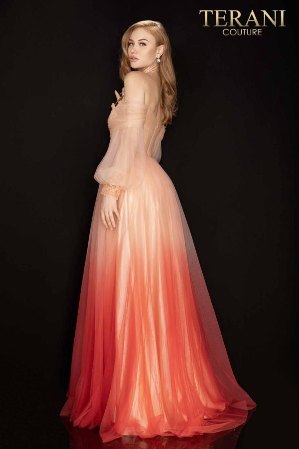 Ombre tulle off shoulder prom ball gown – 2011P1075