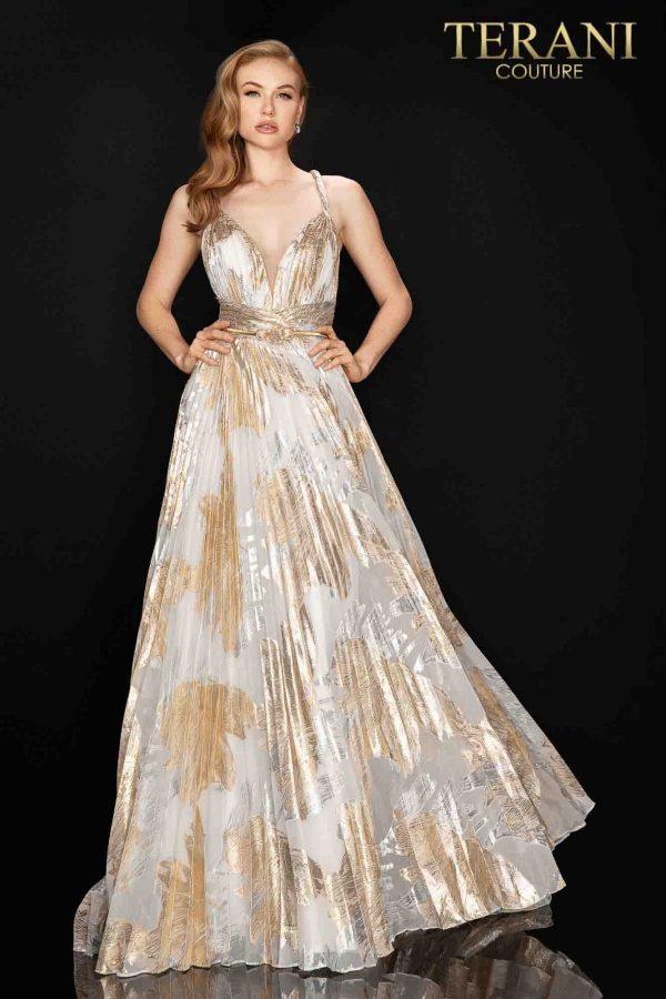 Long pleated metallic chiffon prom gown – 2011P1077